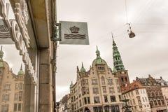 Sign in front of Royal  Copenhagen porcelain Stock Images