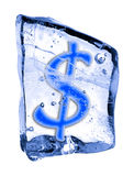 Sign $ frozen in the ice Royalty Free Stock Photo