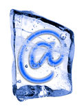 Sign @ frozen in the ice Royalty Free Stock Image