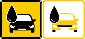 Sign with fuel oil drop and car Stock Photos