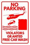 Sign. Funny sign No parking - Violators granted free car wash royalty free illustration