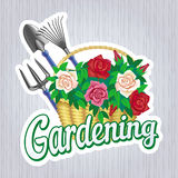 Sign Gardening with a basket of roses. Vector sign Gardening with gardening tools and a basket of roses Stock Photo