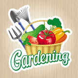 Sign of gardening with a basket of vegetables. Vector sign Gardening with gardening tools and a basket of vegetables Stock Photo