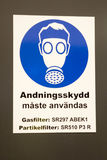 Sign gas mask in Sweden. On a white background Stock Images