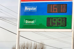 Sign with gas prices. Under $2 Stock Images