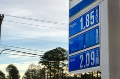 Sign with gas prices. Under $2 Royalty Free Stock Photo