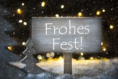 White Christmas Tree, Frohes Fest Means Merry Christmas, Snowflakes Stock Photo