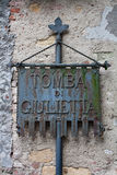 Sign for Giuliettas tomb Stock Image
