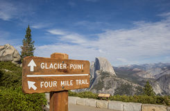 Sign at Glacier Point in Yosemite National Park Stock Image