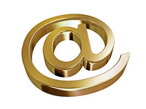 At sign gold. Golden symbol email, on a white background Stock Photos