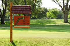 Sign on the golf course Stock Images