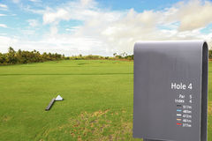 Sign in golf field Royalty Free Stock Images