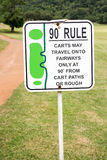 The sign of golf rule, 90 degree rule in golf course Thailand. Royalty Free Stock Photos