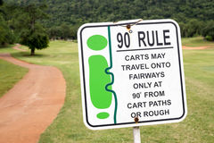 The sign of golf rule, 90 degree rule in golf course Thailand. Stock Image