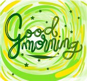 Sign Good morning, template poster hand drawn. Vector. royalty free illustration