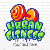 Sign in graffiti style. Urban fitness. Vector illustration Stock Images