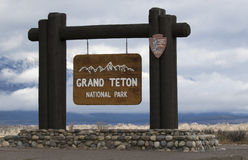 Sign, grand teton national park, obtained 2016, located at south Royalty Free Stock Photo