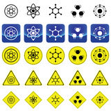 Sign graphics for atom and molecule structure. On many types of yellow circle, triangles and square sign Stock Photo