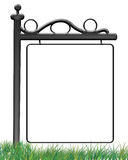 Sign On The Grass Photo Frame. An illustration of a transparent photo frame of an outdoor sign on the grass, created in Photoshop Stock Images
