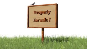 Sign in grass `Property for sale` Royalty Free Stock Images