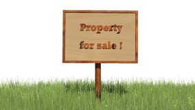 Sign in grass `Property for sale` Stock Photo