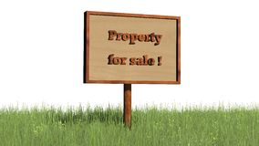 Sign in grass `Property for sale` Stock Photos