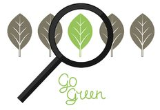 Sign with green and grey leaves and the inscription made by hand Go green. Logo. Bio. Eco. Icon Stock Image