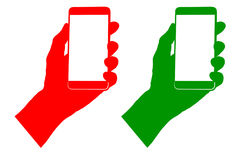 Sign green and red colors depicting the phone in hand Stock Photography