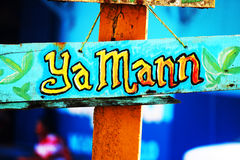 Sign of Greeting Caribbean Side of Costa Rica. What could be a better greeting than `Ya Mann`! Perfect. Hand-Painted, colorful expression of welcome vector illustration