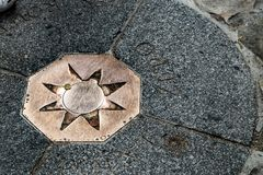 Sign on the ground indicating the point zero of France in Paris stock image