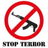 Sign with gun and symbol Stop terrorism Royalty Free Stock Photography