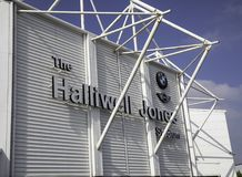 The sign for the Halliwell Jones Stadium home of the Warrington. Wolves professional Rugby League team in Warrington Cheshire May 2018 Royalty Free Stock Photography