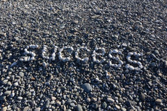 The sign Happy made from white pebbles on pebble beach on the se. A Royalty Free Stock Photos