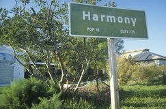 A sign for Harmony, California Stock Images