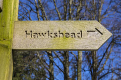 Sign for Hawkshead in the Lake District Stock Photography