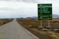 Sign heading to Torres del Paine National Park in southern Chile. Patagonia Royalty Free Stock Images