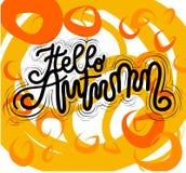 Sign Hello Autumn, hand drawn type. Vector. royalty free illustration