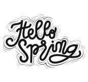 Sign Hello Spring, icon for your web, label, dynamic design. Hand drawn art elements. Vector Il. royalty free illustration