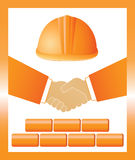 Sign with helmet, handshake and bricks Royalty Free Stock Images
