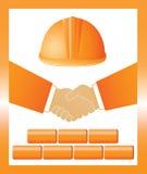 Sign with helmet, handshake and bricks royalty free illustration