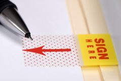 Sign Here macro Royalty Free Stock Image