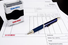 Sign Here Stamp on Invoice Royalty Free Stock Image