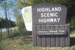 A sign for Highland Scenic Highway Stock Photo