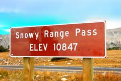 Snowy Range Pass Altitude Sign Wyoming Stock Images