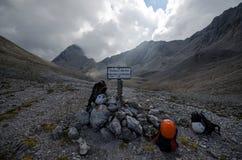 Sign on hiking trail in Dachstein mountain, Ramsauer ferrata, Austria Royalty Free Stock Images