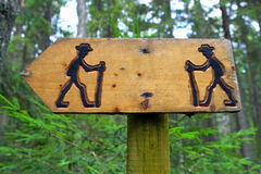 Sign on hiking trail. Stock Images