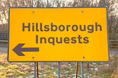 A sign for the Hillsborough Inquests Royalty Free Stock Image