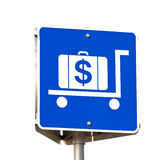 Sign for hiring luggage trolleys Stock Photos