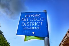 Sign historic art deco district in Miami Beach Royalty Free Stock Photography