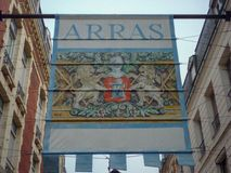 Arras, France sign with historic crest welcoming visitors to city Stock Images